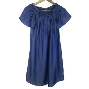 Pleione Off Shoulder Blue Chambray Casual Dress